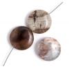 """Semi-precious 16mm Puffed Coin 8"""" Str. Mexican Petrified Wood"""